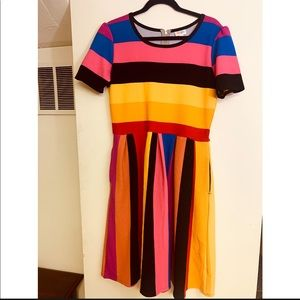 XL Lularoe Amelia Bright Striped Dress